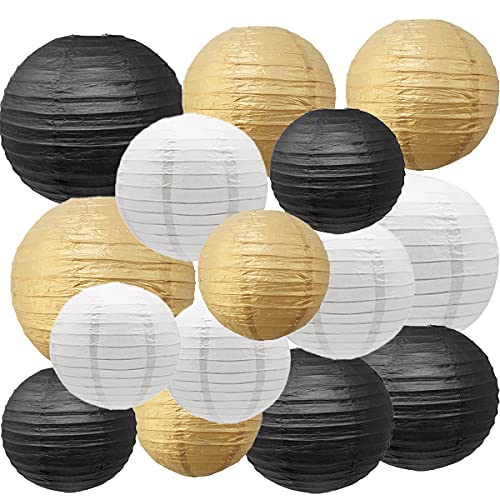 Paper Lanterns Decorative, Round Chinese Paper Lanterns Party Supplies for Wedding Graduation Anniversary Birthday Party Decorations (Black/Gold/White)