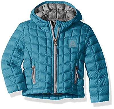 Reebok Girls' Toddler Active Packable Hooded Jacket with Glacier Shield, Teal, 2T