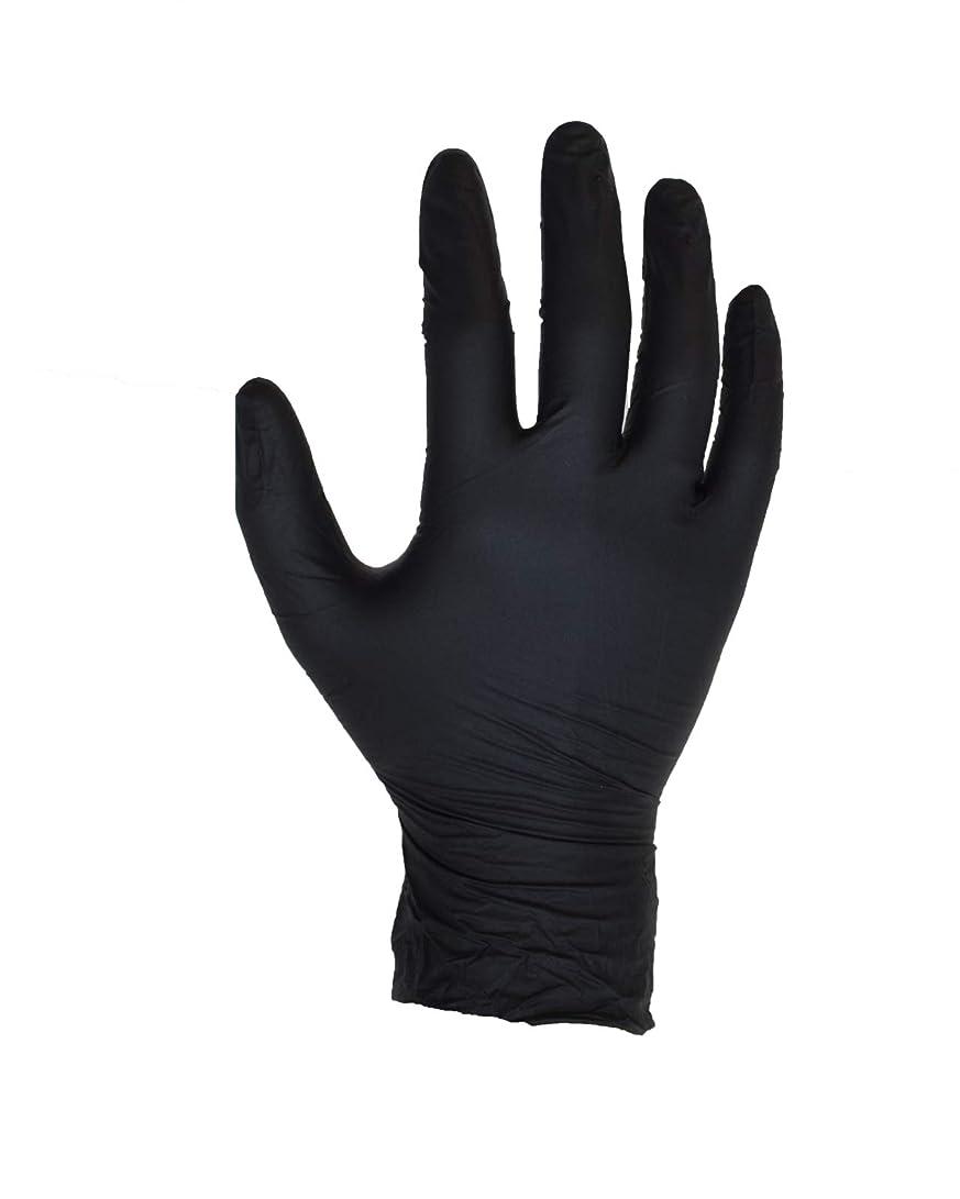 意識しゃがむとティーム100個入りブラックニトリル手袋 - サイズL - ASPRO - パウダーフリー - 使い捨て - ラテックスフリー - AQL 1.5(サイズL - 大、黒)