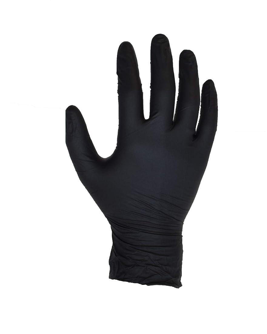 好き愛情深いグリーンランド100個入りブラックニトリル手袋 - サイズL - ASPRO - パウダーフリー - 使い捨て - ラテックスフリー - AQL 1.5(サイズL - 大、黒)