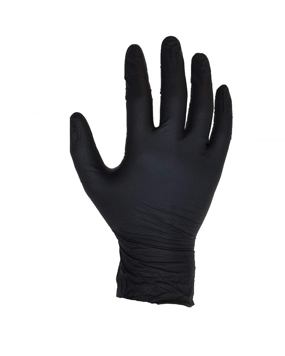 地上のでる微弱100個入りブラックニトリル手袋 - SIZE XL - ASPRO製 - パウダーフリー - 使い捨て - ラテックスフリー - AQL 1.5(SIZE XL -X L、BLACK)