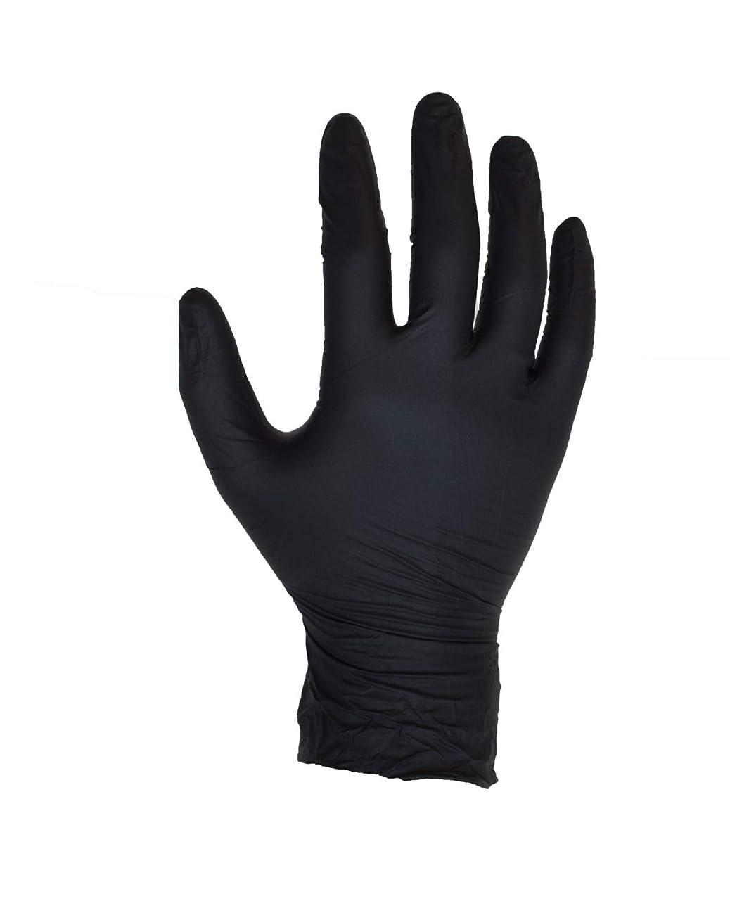 中性暴露広告する100個入りブラックニトリル手袋 - サイズL - ASPRO - パウダーフリー - 使い捨て - ラテックスフリー - AQL 1.5(サイズL - 大、黒)