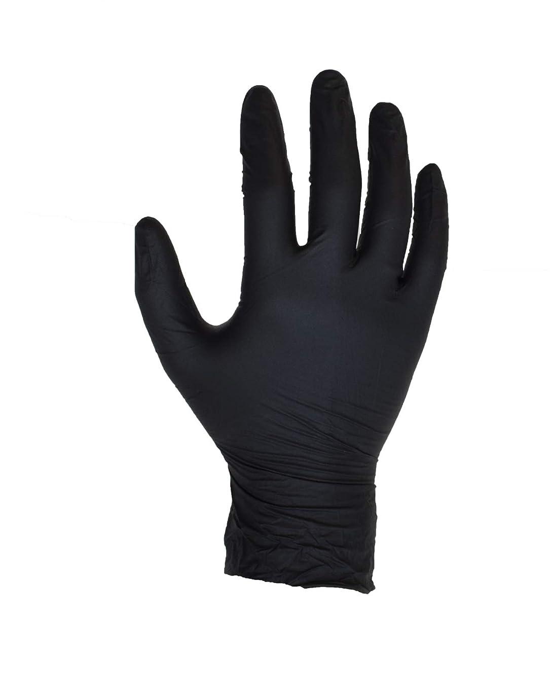 店主監査作ります100個入りブラックニトリル手袋 - サイズL - ASPRO - パウダーフリー - 使い捨て - ラテックスフリー - AQL 1.5(サイズL - 大、黒)