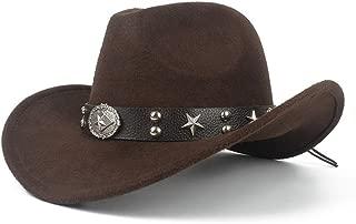 SHENTIANWEI New Men Women Western Cowboy Hat with Punk Belt Winter Outdoor Church Hat Wide Brim Fedora Hat Sombrero Hat Size 56-58CM