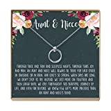 Dear Ava Aunt-Niece Necklace: Aunt-Niece Gift, Aunt-Niece Jewelry, Aunt-Niece Quotes (2 Linked Circles Silver)
