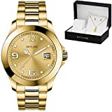 SKYLINE, Conjunto de Reloj para Mujer, Reloj de Pulsera, Collar y Pendientes con Diseño de Piñas, Acero Inoxidable, Cumpleaños, Aniversario, etc, Color Dorado