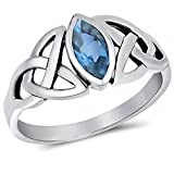 Oxford Diamond Co Simulated Aquamarine .925 Sterling Silver Ring Size 5