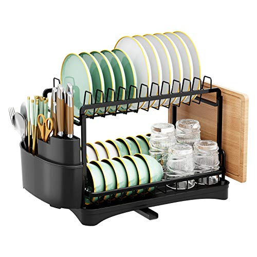 Drying Dish Rack,SMHOUSE Dish Rack with drainboards for Kitchen Countertop (Aluminium)