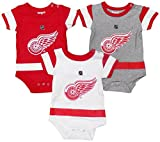 Outerstuff Detroit Red Wings Baby/Infant Hockey Jersey Style 3 Piece Creeper Set 24 Months