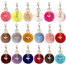 Cieovo 18 Pieces Pom Poms Keychains Fluffy Pompoms Keyring With Dancing Ballerina Girl