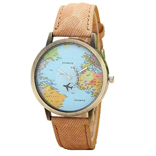 Ouneed® Uhren, Neue globale Reise durch Flugzeug Karten Frauen Kleid Uhr Denim Gewebe Band (Kaffee)