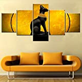 Wall Pictures for Living Room Egyptian Goddess Bastet Paintings Black Egypt Cat Wall Art 5 Panel Retro Canvas Artwork HD Prints Giclee Modern Home Decor Framed Stretched Ready to Hang(50''Wx24''H)