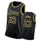 QPY Camiseta de baloncesto Laker con estampado de serpiente negra para hombre, camiseta sin mangas unisex (S-XXL) James-XXL