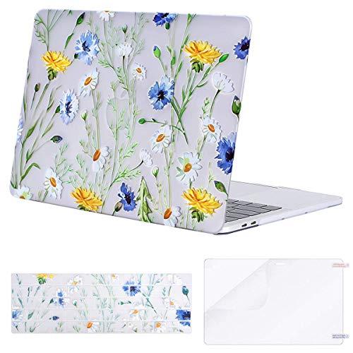 MOSISO Hülle Kompatibel mit MacBook Pro 13 A2159/A1989/A1706/A1708 2019-2016, Plastik Hülle & Passende Farbe Tastaturschutz & Displayschutz Kompatibel mit MacBook Pro 13 Zoll, Klar Basis Gänseblümchen