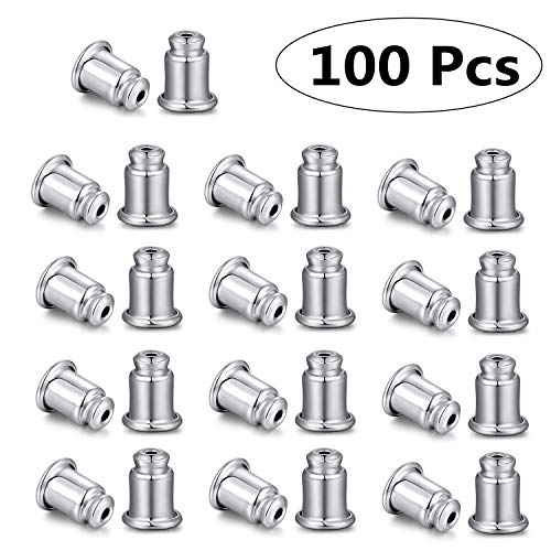 TENGLAI 100Pcs Earring Backings, Sterling Silver Stain Steel Rubber Earring Backing Replacement Secure Ear Locking Ear Safety Back Pads Backstops Stopper(Silver Stainless Steel)