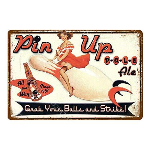 SZLGPJ Girl Metal Signs Moonshine Poster Lady Metal Plaque Wall Painting Sticker For Pub Bar Club Home Decor 20x30cm YD6712BI