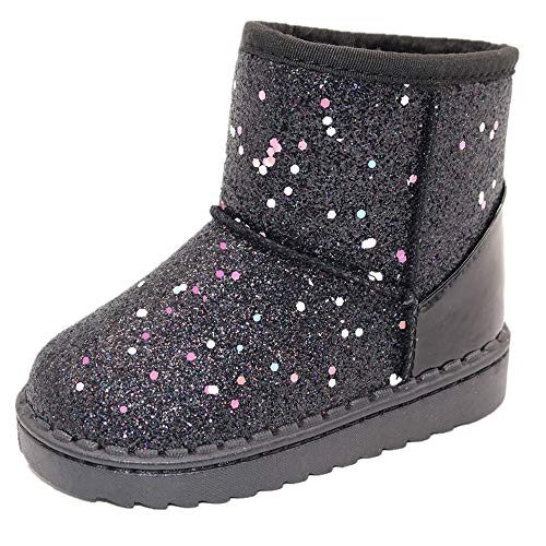 Elcssuy Girls Boots Warm Sequin Comfy Cute Waterpoof Outdoor Glitter Snow Boots Bootie Slippers(Toddler/Little Kid) Black11 Little Kid