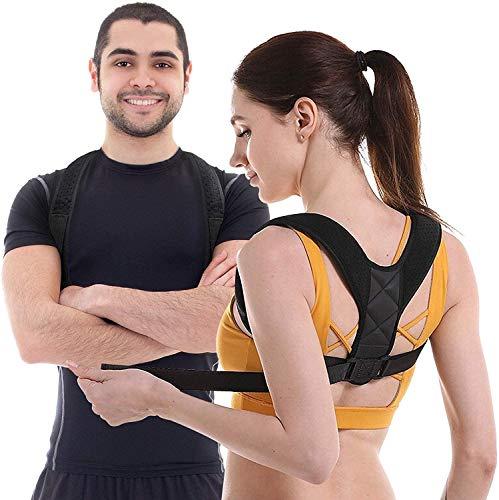 SHENMATE Corrector Postura Espalda y Hombros, Corrector de Postura para Hombre y Mujer, Ajustable Espalda Recta Soporte Faja, Aliviar Dolor y Mejorar Postura Joroba incluye 2 Hombreras y 2 Rodilleras