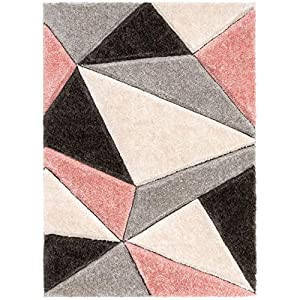 Well Woven Walker Pink Triangle Boxes Thick Soft Plush 3D Textured Shag Area Rug 5×7 (5'3″ x 7'3″)