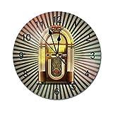 Lewiuzr Jukebox Reloj de Pared Redondo, Retro Vintage 50S Fondo de Rayas Inspirado en Pin Up Caja de...