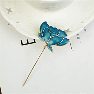 Guoshang Men Metal Brooch Pin Alloy Enamel Lotus Flower Brooch Lapel Pin Vintage Lapel Stick Pin Tie Hat Scarf Brooch Badge