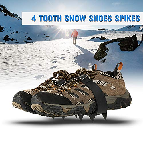 Walmeck 4 Crampons dentaires en Plein air Alpinisme randonnée Ski sur Glace Neige Chaussures Spikes Hiver antidérapant Pince Glace