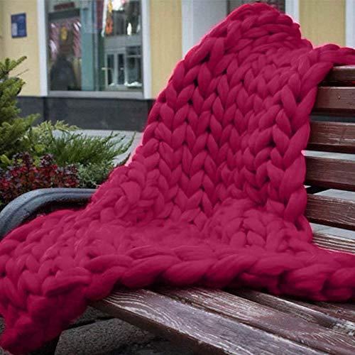 Chunky gebreide deken wasbaar, met de hand gemaakt gebreid met zware dikke Vegan garen accent huisdecoratie cadeau voor boerderij bank bank bed (kleur: wijn rood, grootte : 80x80cm)