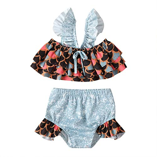 Agoky Little Big Girls Two Pieces Tankini Swimsuit Top with Shorts Set Summer Bikini Beachwear