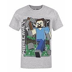 Minecraft Camiseta de Manga Corta Steve Recogida Gris Vintage para Niños