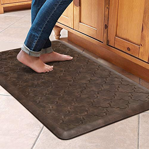 """WiseLife Kitchen Mat Cushioned Anti Fatigue Floor Mat,17.3""""x28"""", Thick Non Slip Waterproof Kitchen Rugs and Mats,Heavy Duty PVC Foam Standing Mat for Kitchen,Floor,Home,Office,Desk,Sink,Laundry, Brown"""