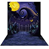 Allenjoy 5x7ft Hallowmas Before Christmas Backdrop for Halloween Pictures Pumpkin Moonlight Newborn Children Photography Background Party Birthday Banner Baby Shower Home Decorations Decor Photo Booth