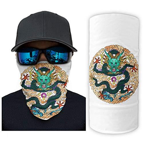 NA Kleurrijke Traditionele Japanse draak wolken golf tattoo mythos dier legende druk bandana gezichtsmasker zonnescherm gezichtssjaal