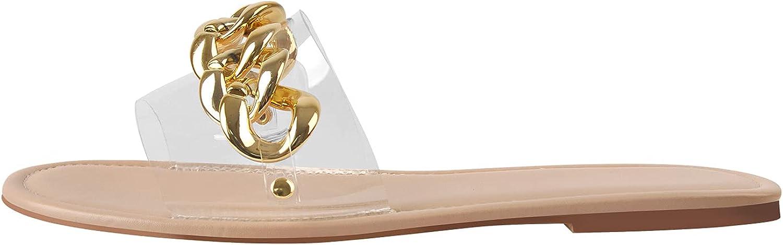 LISHAN Women's Slip On Flats Chain Slides Sandals