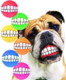 HAWWWY Funny Teeth Balls for Dogs, Fun Pet Toy with Human Smile Design and Squeaker, Nontoxic for Puppy Small Medium or Large Doggies Tooth Chew Toy, Squeek Squeaky Smiling Pet Ball Cute Doggy Gifts