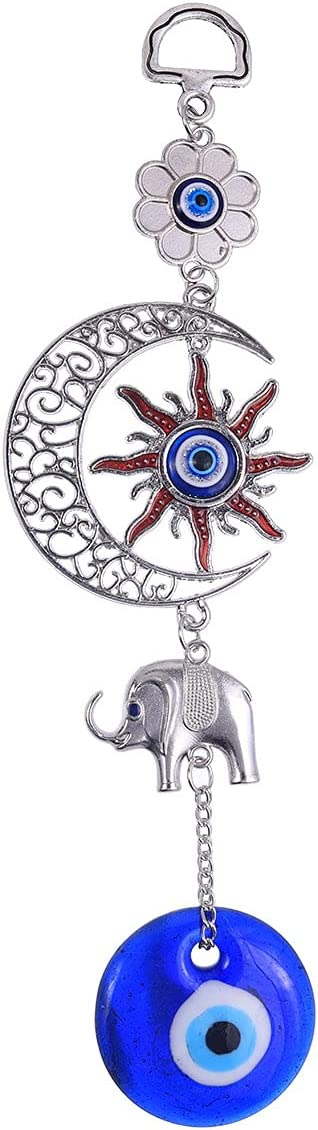 ME9UE Blue Evil Eye Sun Moon Amulet, Evil Eye Pendant Decoration, Handmade Turkish Evil Eye Ornament, Lucky Blue Evil Eye Hanging Ornament Amulet for Car, Home and Office for Protection and Blessing