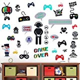 36 Pieces Video Game Wall Decals Gaming Controller Wall Stickers Removable DIY Cartoon Party Wallpaper for Playroom Bedroom Living Room Decor