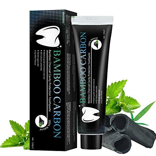 Dentifrice Naturel Pur Bio 100% - Betope dentifrice au charbon de bambou Menthe haleine fraiche, Blanchiment des dents sans fluor professionnel, Anti tartre (120g)