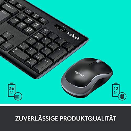 Logitech MK270 Kabelloses Tastatur-Maus-Set, 2.4 GHz Wireless Verbindung via Nano USB-Empfänger, Lange Akkulaufzeit, Für Windows und ChromeOS, Deutsches QWERTZ-Layout - Schwarz
