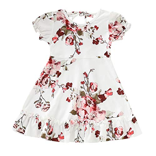 JUTOO Neugeborenes Kleinkind-Baby scherzt Mädchen Geraffte Rüschen-Blumenblumen-Prinzessin Dresses Clothes (Weiß,120)