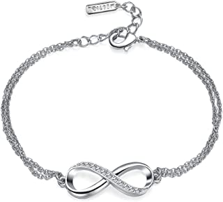 Mestige Women's Rhodium Plated Infinitely Yours Chain Bracelet,Silver-MSBR3207