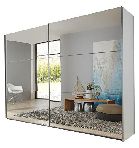 Wimex 974805Armario de Puertas correderas, 225x 210x 65cm, Estructura Color Blanco/Frontal Espejo