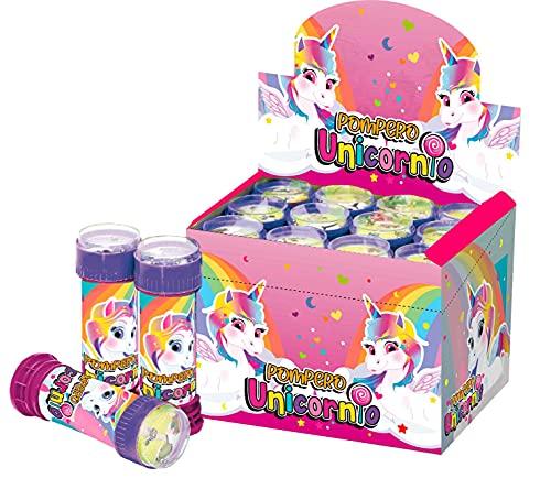 SUPERBOOM - Caja Pomperos de Burbujas de Jabón Unicornios - 12 Unidades de 60 ml