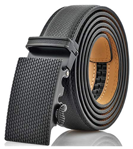 "Marino Men's Genuine Leather Ratchet Dress Belt With Automatic Buckle, Enclosed in an Elegant Gift Box - Black - Adjustable from 28"" to 44"" Waist"