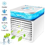 Portable Air Conditioner, 2020 Updated Personal Air Coolers, Air Humidifier, Evaporative Coolers with 3 Wind Speeds, Misting Air Purifier, USB Mini Desktop Cooling Fan for Home Office Outdoor
