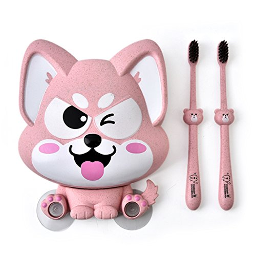 Golandstar Lucky Dog Shaped Toothbrush Toothpaste Holder Sucker Wall Mounted Suction Cup Family Wall Bathroom Hanger Sucker Cup Organizer Decoration Powerful Suckers with 2pcs Toothbrushes (Pink)