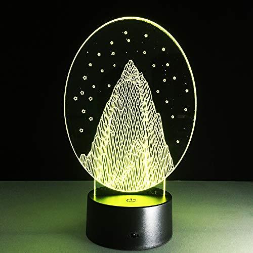 3D optische illusie lampen stenen tuin sneeuwvlok bureau tafellamp 7 kleuren touch lampen voor kinderen slaapkamer verjaardagsgeschenk geschenk met USB-kabel afstandsbediening