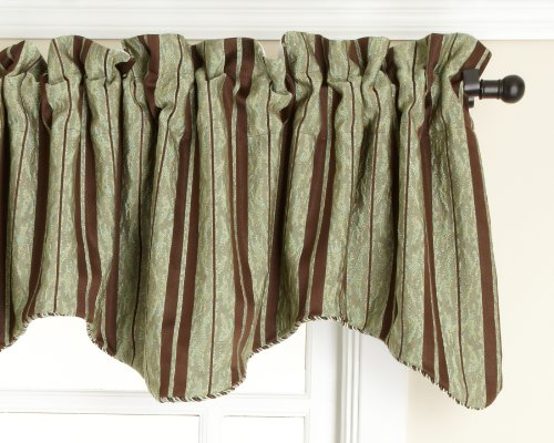 Style Master Renaissance Home Fashion Cooper Lined Scalloped Valance with Cording, Chocolate, 50 by 17-Inch