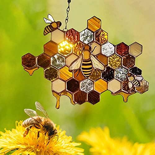 Vitaisa Adorno de Abeja, Reina Bee Proteger Honey Sunbinger, Honeybee Mosaic Hecho a Mano Decoración para el hogar Arte de la Pared