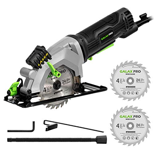 GALAX PRO 4Amp 3500RPM Circular Saw with Laser Guide, Max. Cutting Depth1-11/16'(90°), 1-1/8'(45°)Compact Saw with 4-1/2' 24T TCT Blade, Vacuum Adapter, Blade Wrench, and Rip Guide