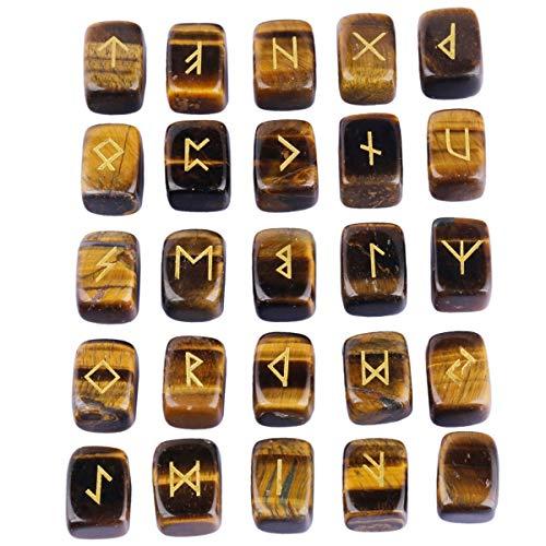 KYEYGWO Tigerauge Runen Steine Set mit Gravur Golden Elder Futhark Alphabet Symbol Edelstein, Runensteine Kristall für Meditation, Wahrsagung, Reiki Heilung und Amulett, 25 Stück